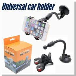 Wholesale Long Arm Universal Car soft tube Mount Bracket Holder for iPhone7 Plus S SAMSUNG GPS PDA Degree cellphone car holder