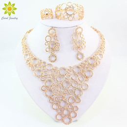 bridal jewelry ring set Australia - Fine Jewelry Sets For Women Party Accessories 18K Gold Plated African Beads Necklace Earrings Bracelet Rings Set Wedding Bridal