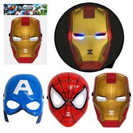 Wholesale LED Glowing Mask Avengers Marvel Captain America Spiderman Hulk Iron Man Batman Halloween Costume Gift Kid Party Mask
