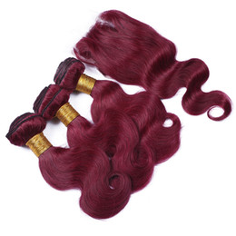 $enCountryForm.capitalKeyWord Canada - 99j peruvian virgin hair with 4*4 lace closure 4pcs lot burgundy body wave with closure wine red wavy human hair bundles with closure