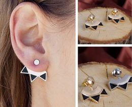 $enCountryForm.capitalKeyWord Canada - Triangle Enamel Ear Jackets Womens Silver Gold Plated Back Hanging Stud Wraps Earrings Ear Studs Ear Pins Casual Party