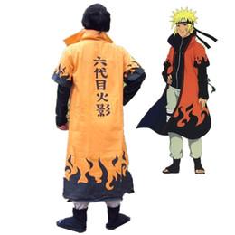 China Anime Naruto Cosplay Costumes Six Yondaime Hokage Namikaze Minato Cloak Hatake Kakashi Naruto Cape Outfit onesies Free shipping cheap naruto cosplay outfits suppliers
