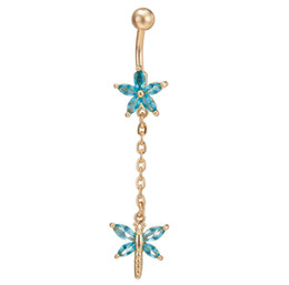 gold butterfly navel ring UK - New Comings Gold Plated Crystal Sweet Flower Butterfly Belly Button Navel Ring Body Piercing Navel Body Jewelry BR-061