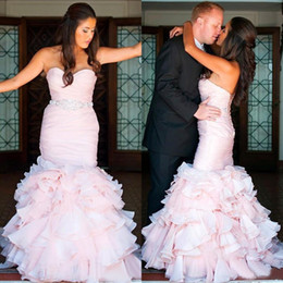 wedding dresses sweetheart mermaid china NZ - 2016 Bush Pink Organza Mermaid Wedding Dresses Sexy Sweetheart Cascading Ruffles Beaded Sash Tiered Bridal Gowns Custom Made China EN10141