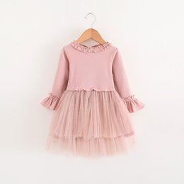 Wholesale Kids Girls en dentelle Ruffles Robe Tutu Sweet Baby Fall Automne Winter Suspender Robe à manches longues YAN