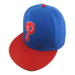 Pop Classic Team Ball Phillies Fitted Caps P Letter Baseball Cap  Embroidered Team P Letter Size Flat Brim Hat Phillies Baseball Cap Size c04b23704d42