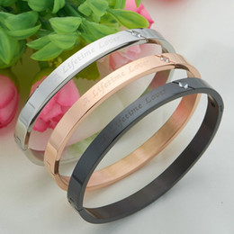 $enCountryForm.capitalKeyWord Canada - for couple love you Hot new Bangle H Stainless Steel Bracelet Bangl Titanium Steel Bracelet Lovers bracelet silver rose gold bangle