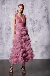PurPle marchesa dress online shopping - Marchesa Dusty Pink Prom Dresses A Line V Neck Illusion Lace Bodice Tiered Skirts Dress for Party Wear Zuhair Murad dresses evening wea