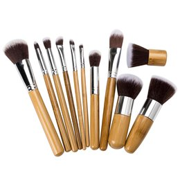 bags goat hair Canada - 11 PCS Professional High Quality Bamboo Makeup Brush Set Goat Hair Cosmetic Makeup Brushes Kit With Bag DHL 300 sets