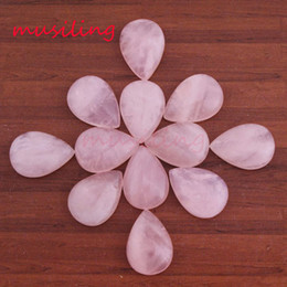 Gem Stone Jewelry Canada - 10x14mm Natural Gem Stone Water Drop Flat Beads DIY For Jewelry Making Rose Quartz Amethyst etc Loose Beads Charms Making Accessories