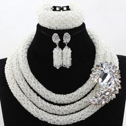 $enCountryForm.capitalKeyWord NZ - bridal vintage necklace sets Nigerian Wedding African Beads Crystal Necklace Bracelet Earrings elegant purple pink 3 layers for women gift