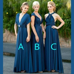 Robes De Demoiselle D'honneur En Bleu Royal Profond Pas Cher-Nouveau mode en mousseline de soie bleu marine longues robes de demoiselle 3 Style profonde v cou Halter Backless Maid Of Honor Robes Invité de mariage Robes formelles