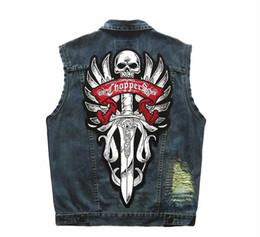 Discount motorcycle club jackets - Men's Punk Patch CHOPPER Blue Denim Vest Motorcycle Club Badges Rivet Embroidery Reflective Sleeveless Jacket Vest