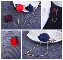 $enCountryForm.capitalKeyWord Canada - Korean version of a small jewelry brooch roses with leaves Corsage flower jewelry handmade suit Flower Corsage Chain brooch cloth