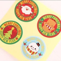 wholesale 80pcs 4 designs merry christmas happy new year santa elk snowman seal sticker gift baking package affordable happy new year stickers