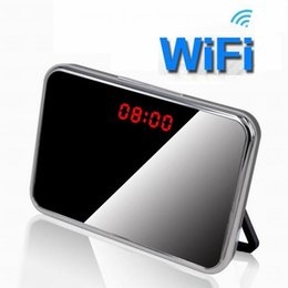 Detection Systems Security Canada - WiFi Mini Mirror Clock camera Baby monitor Full HD 1080P Mini IR night vision P2P camera motion detection alarm clock home security System