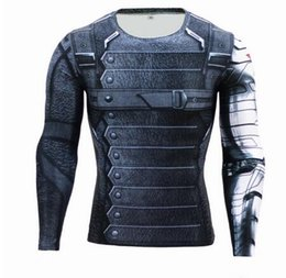 T-shirt À Long Terme Pas Cher-Nouveau 3D Winter Soldier Avengers 3 Compression Shirt Men manches longues Summer Fitness Crossfit T-shirts Vêtements Homme Tight Tops