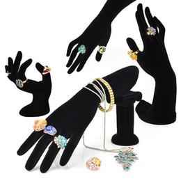 En forme de main anneau support bracelet porte-bracelet support bagues bijoux affichage étagère noir velours femme mannequin main en Solde
