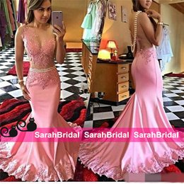 Barato Festa Quente Usa-Hot Sexy Pink Mermaid Prom Dresses Veja através de Applique Backless Pearls Sheer Waist Cut Satin 2016 Long Party Evening Gowns para desgaste de página