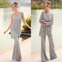 $enCountryForm.capitalKeyWord Australia - Silver Gray Chiffon Jewel Irregularly Wide Mother Of Bride Pant Suits With Long Sleeve Jacket Plus Size Custom Made EN7276