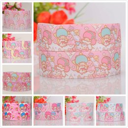 "little twin stars wholesale Canada - 10yards 7 8""22mm little twin star pattern printed hairbow grosgrain Japanese cartoon ribbon"