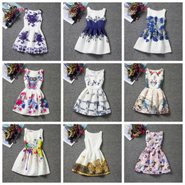 designs dress Canada - 20 styles latest design baby girls floral dress Retro printing princess dress for girl children sleeveless skirts kids prom party clothing