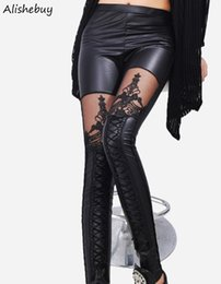 Pantalon Sexy En Cuir Noir Pas Cher-Hot Fashion Women Leggings Broderie Lace Up Skinny Legging Faux PU Cuir Pantalons Patchwork Sexy Lace Leggings Pantalons Noir SV009304