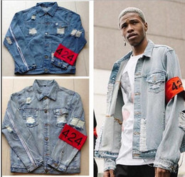 $enCountryForm.capitalKeyWord Canada - 2016 TOP Spot red armband four two four 424 ripped hole distressed lt blue denim jacket streetwear urban clothing