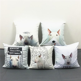 Style Chairs Canada - Rafael Mantesso Drawings 55 Styles Bull Terrier Dogs Cushions Pillows Covers Cute Dog Pillow Case Decorative Sofa Chair Soft Cushion Cover