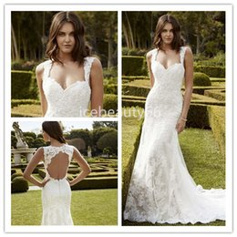 Barato Neckheart Neckline Keyhole Back-2017 Encantadora Lace Applique Mermaid Wedding Dresses Sexy Keyhole Back Chapel Train Garden Wedding Vestidos de noiva Sweetheart Decote