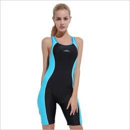 boxer swimsuit woman UK - Swimwear Women Boxer brief Sports Swimwear Slim Female Backless Swimsuit Lycra Anti-UV Sleeveless Swimming Clothes with Bust Pad