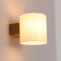 Lumières de mur simples modernes en bois de bougeoir de LED pour la lampe de mur de chevet de chambre à coucher en Solde