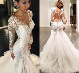 vintage mermaid style wedding dresses 2019 - 2018 Vintage Mermaid Trumpet Style Wedding Dresses Long Sleeves Button Back Lace Beaded Sheer Back Sexy Bridal Gowns che