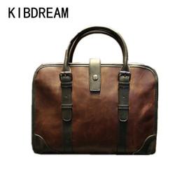 Laptop Chain NZ - Wholesale- KIBDREAM New Hot Sale Man Bag Design Genuine Leather Men Bags Vintage Business Men's Briefcase Men Travel Bags Tote Laptop Bag