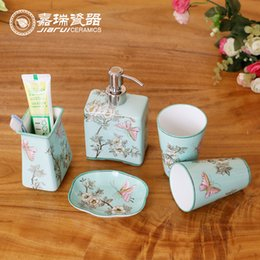 european style white ceramic bathroom set flower birds pattern household sanitary ware hotel amenities kit bathroom accessories