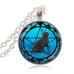 cat pendant for men NZ - Black Cat Necklace Wicca Pentagram Blue Glass Cabochon Time Gemstone Pendant Pentacle Charm Jewelry Gifts for Women Men