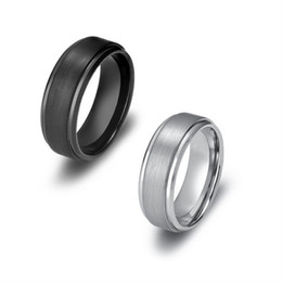Tungsten Band Sizes UK - 8MM Tungsten Carbide Rings with Matte Center Step Edge Mens Wedding Bands US Size 7-13 (Leave Message About the Size & Color)