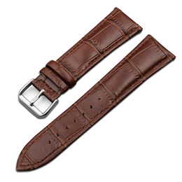Chinese  High quality Fashion Genuine leather Watch Strap 14mm 16mm 18mm 20mm 22mm Interchangeable Replacement Watch Band Black Brown Waterproof manufacturers