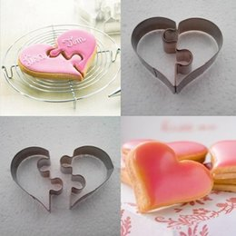 Sandwich Cutter Heart NZ - 2PCS Heart set Cookie Cutter mold Stainless Steel Cake Decorating Tool Kitchen Baking Moulds sandwich Puzzle dough pastry CC11