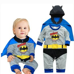 Barato Superman Rompers Baby Boy-Hot vendendo Baby Toddler Rompers Superman Spiderman Batman trajes Halloween festa de Natal Performance Boy Meninas uma peça de manga comprida
