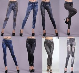 Look Sexy Jean Pas Cher-Mode Femmes Sexy Tatouage Jean Look Leggings Punk Sport Academies Habillement Jeans Impression sans couture sans doublure Big yards ultra elastic 5