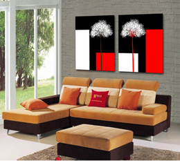 Leaf Oil Painting NZ - Free shipping 2 Pieces no frame Canvas Prints Abstract black and white oil painting tree grass food flower leaf orchid Chrysanthemum