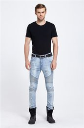 Chinese  new Hi-Street Mens Ripped frayed Rider men Biker Jeans Motorcycle Washed Blue Black Moto Joggers Skinny male Denim Pants manufacturers