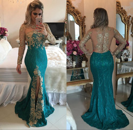 Good eveninG dresses online shopping - Good Quality Dark Green Mermaid Lace Evening Dresses Jewel Sexy Sheer Back Long Sleeves Split Front Celebrity Dresses Party Dresses