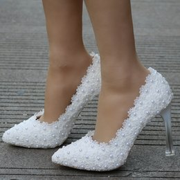 Lace Shoes For Women NZ - Fashion white lace wedding heels shoes pointed toe wedding shoes thin heels pumps for women pumps white pearls lace shoes