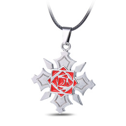 $enCountryForm.capitalKeyWord Canada - 12pcs lot Popular Anime Vampire Knight Pendant Necklace Fashion anime Cosplay Rose Flower Medal Pendant Necklace Leather Chain Necklace Jewe