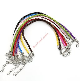 Ingrosso 10 pz / lotto catena braccialetto in pelle collana aragosta applausi misura gioielli europei rendendo fai da te fatti a mano regolabile
