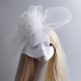 $enCountryForm.capitalKeyWord Canada - Large Fashion New White Net Feather Fascinator Handmade Hat Hair Clip Races Vintage Wedding Hat