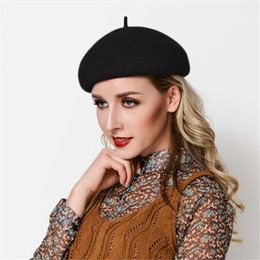 Wholesale winter wedding cocktail dress resale online - Womens Beret Felt Wool Black Fascinator Cocktail Party Wedding Church Dress Ascot Race Winter Hat A422