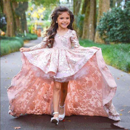Discount luxury little girl pageant dresses - Luxury Little Pageant Gowns V-Neck Long Illusion Sleeves Beautiful Dresses For Weddings With Silver Applique Hi-Lo Court